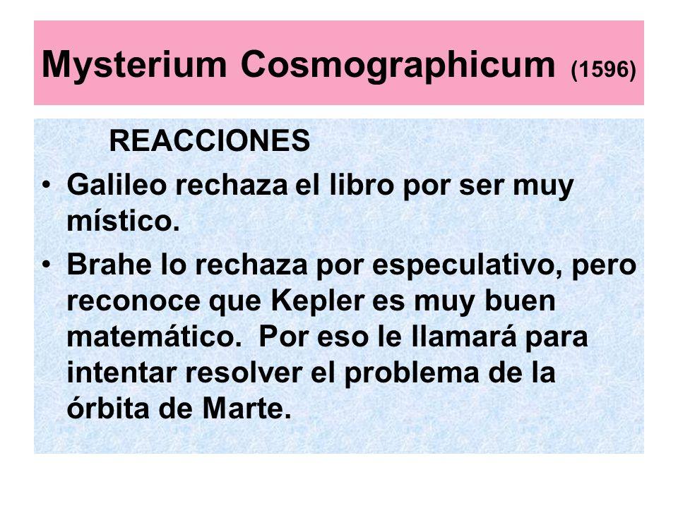 Mysterium Cosmographicum (1596) REACCIONES Galileo rechaza el libro por ser muy místico. Brahe lo rechaza por especulativo, pero reconoce que Kepler e