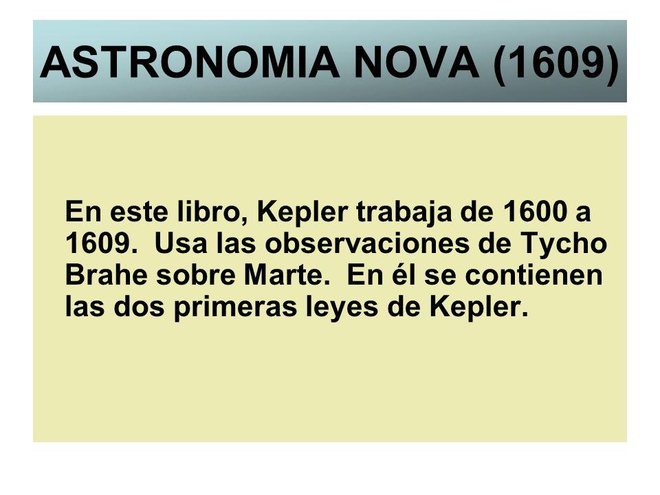 ASTRONOMIA NOVA (1609) En este libro, Kepler trabaja de 1600 a 1609. Usa las observaciones de Tycho Brahe sobre Marte. En él se contienen las dos prim