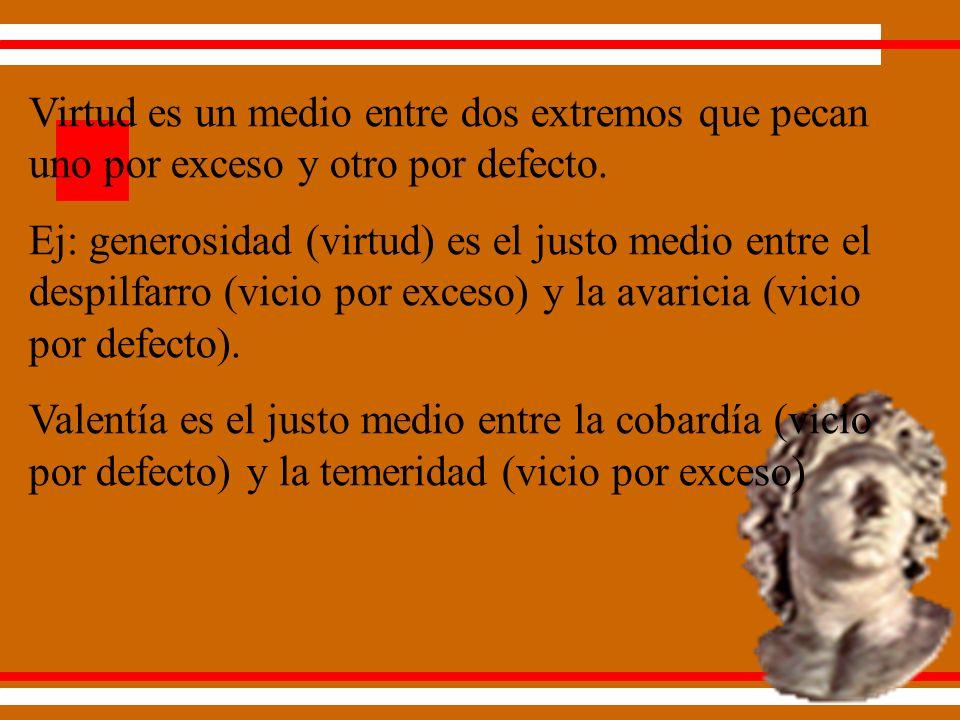 Virtud es un medio entre dos extremos que pecan uno por exceso y otro por defecto.