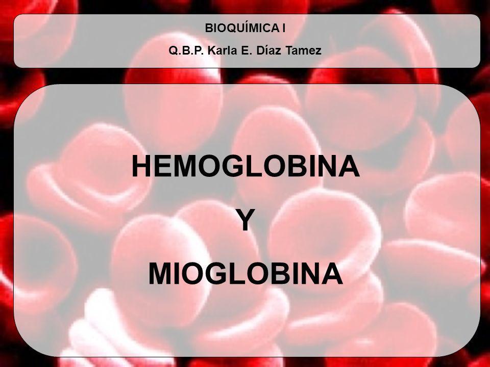 HEMOGLOBINA Y MIOGLOBINA BIOQUÍMICA I Q.B.P. Karla E. Díaz Tamez