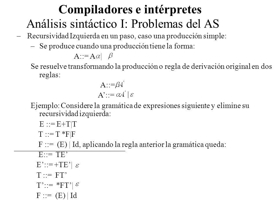 Análisis sintáctico I: Problemas del AS Compiladores e intérpretes –Recursividad Izquierda en un paso, caso múltiples producciones –Se produce cuando una producción tiene la forma: A::= Se resuelve transformando la producción o regla de derivación original en dos reglas: A::= Ejemplo: Considere la gramática de expresiones siguiente y elimine su recursividad izquierda: EXPRESION::= EXPRESION * TERMINO | EXPRESION + TERMINO| TERMINO aplicando la regla anterior, las producciones quedan: EXPRESION::= TERMINO A A ::= * TERMINO A| + TERMINOA|