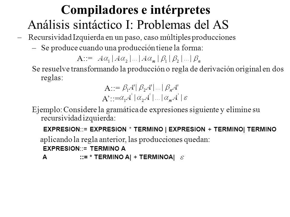 Análisis sintáctico I: Problemas del AS Compiladores e intérpretes –Una gramática es recursiva por la izquierda si tiene un no terminal tal que exista una derivación A para alguna cadena –Ejemplo: S ::=Aa | b A ::=Ac |Sd| El no terminal S es recursivo en más de un paso: S -> Aa -> Sda El siguiente algoritmo elimina sistemáticamente la recursividad izquierda de una gramática: 1.Disponer de los símbolos no términales en algún orden 2.For i:=1 to n For j:=1 to i-1 - Reemplazar cada producción por donde son todas las producciones de - Eliminar recursividad izquierda de las Este algoritmo está asegurado cuando en la gramática no existen ciclos (derivaciones que llevan exactamente al mismo no terminal) ni producciones