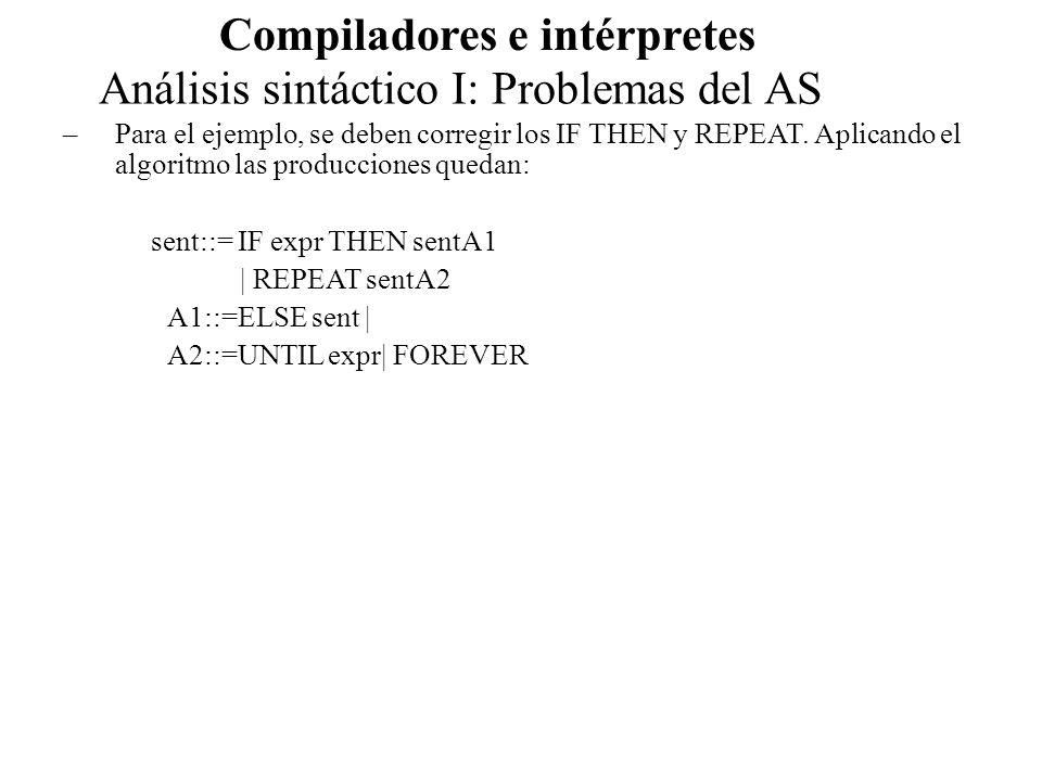 Análisis sintáctico I: Problemas del AS Compiladores e intérpretes –Para el ejemplo, se deben corregir los IF THEN y REPEAT. Aplicando el algoritmo la