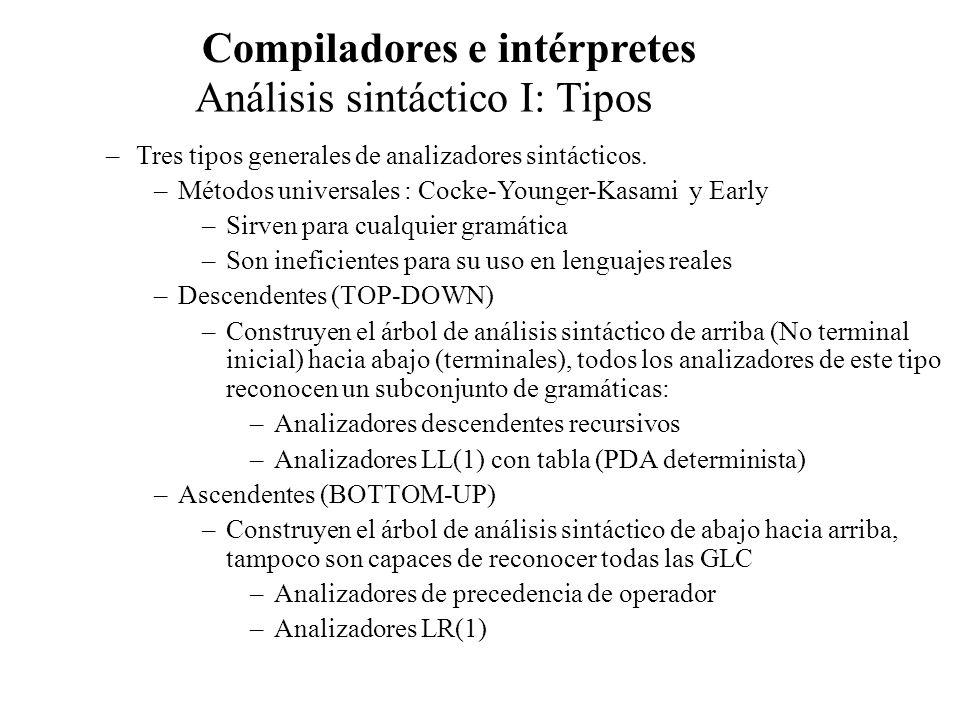 Análisis sintáctico I: Tipos Compiladores e intérpretes –Tanto para el análisis descendente como para el ascendente: –La entrada se examina de izquierda a derecha, un símbolo cada vez –Se trabaja con subclases de gramática –En general las gramáticas serán LL y LR –LL(K) es subconjunto de LR(k) –En la práctica sólo seutilizan LL(1) y LR(1) –Muchos compiladores se denomina parse diriven, debido a que la fáse sintáctica es muy relevante y va dirigiendo al analizador léxico.