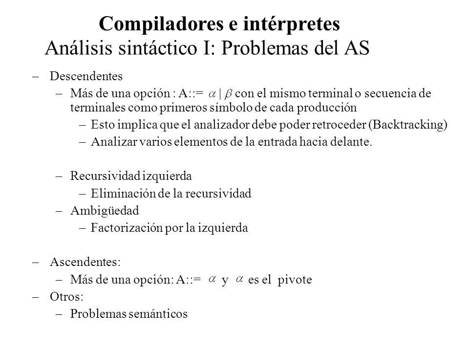 Análisis sintáctico I: Problemas del AS Compiladores e intérpretes –Recursividad Izquierda en un paso, caso una producción simple: –Se produce cuando una producción tiene la forma: A::= A | Se resuelve transformando la producción o regla de derivación original en dos reglas: A::= Ejemplo: Considere la gramática de expresiones siguiente y elimine su recursividad izquierda: E ::= E+T|T T ::= T *F|F F ::= (E) | Id, aplicando la regla anterior la gramática queda: E::= TE E::= +TE| T ::= FT T::= *FT| F ::= (E) | Id