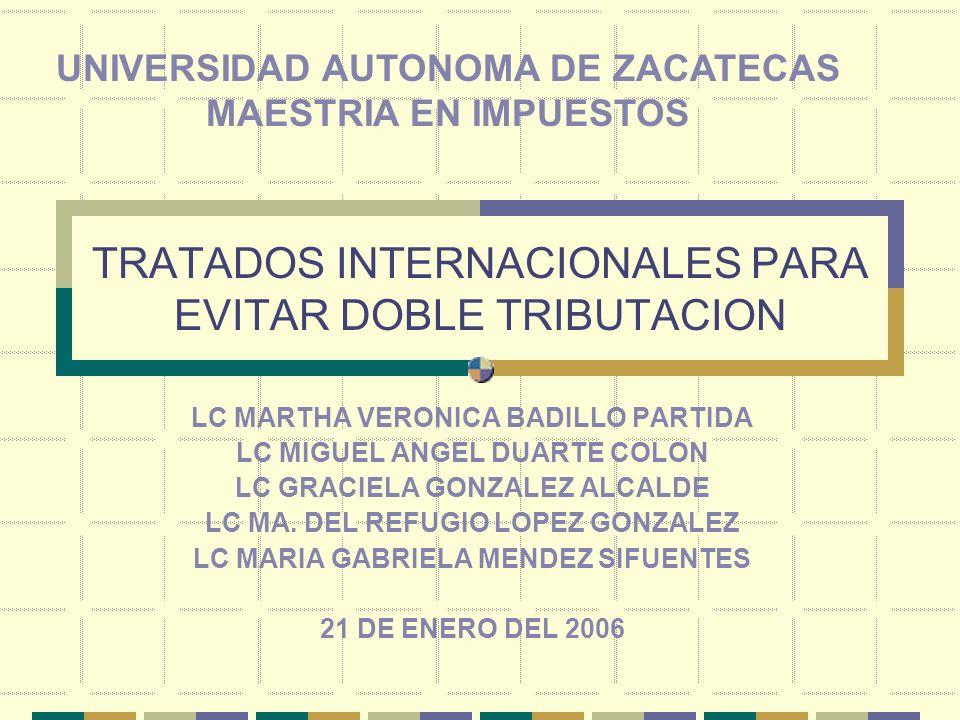 TRATADOS INTERNACIONALES PARA EVITAR DOBLE TRIBUTACION LC MARTHA VERONICA BADILLO PARTIDA LC MIGUEL ANGEL DUARTE COLON LC GRACIELA GONZALEZ ALCALDE LC