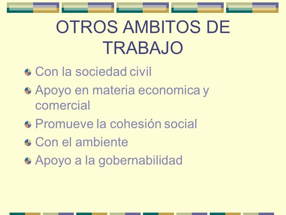 OTROS AMBITOS DE TRABAJO Con la sociedad civil Apoyo en materia economica y comercial Promueve la cohesión social Con el ambiente Apoyo a la gobernabi