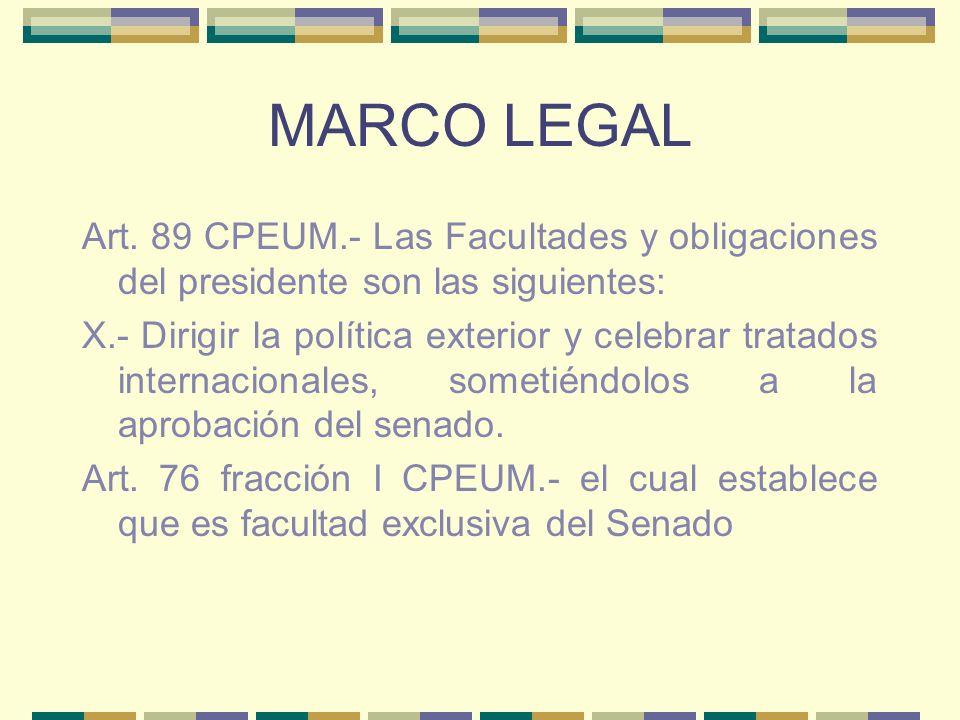 MARCO LEGAL Art. 89 CPEUM.- Las Facultades y obligaciones del presidente son las siguientes: X.- Dirigir la política exterior y celebrar tratados inte