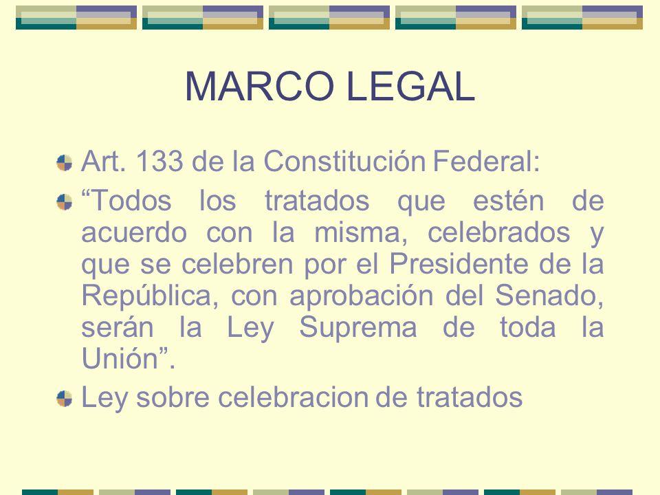 MARCO LEGAL Art. 133 de la Constitución Federal: Todos los tratados que estén de acuerdo con la misma, celebrados y que se celebren por el Presidente