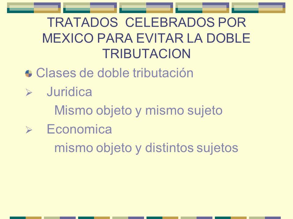 TRATADOS CELEBRADOS POR MEXICO PARA EVITAR LA DOBLE TRIBUTACION Clases de doble tributación Juridica Mismo objeto y mismo sujeto Economica mismo objet