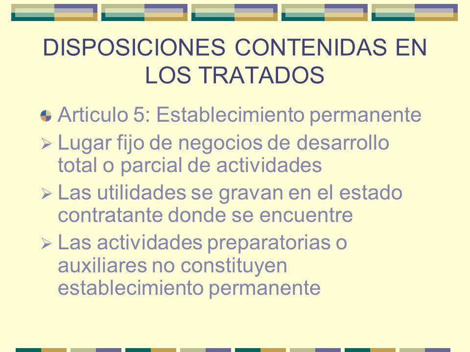 DISPOSICIONES CONTENIDAS EN LOS TRATADOS Articulo 5: Establecimiento permanente Lugar fijo de negocios de desarrollo total o parcial de actividades La
