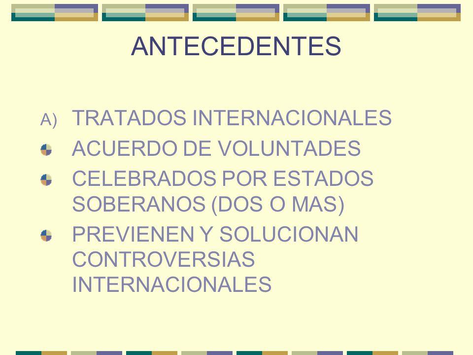 ANTECEDENTES A) TRATADOS INTERNACIONALES ACUERDO DE VOLUNTADES CELEBRADOS POR ESTADOS SOBERANOS (DOS O MAS) PREVIENEN Y SOLUCIONAN CONTROVERSIAS INTER