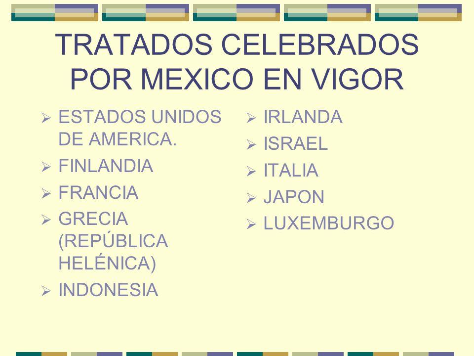 TRATADOS CELEBRADOS POR MEXICO EN VIGOR ESTADOS UNIDOS DE AMERICA. FINLANDIA FRANCIA GRECIA (REPÚBLICA HELÉNICA) INDONESIA IRLANDA ISRAEL ITALIA JAPON