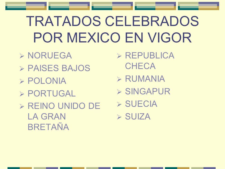 TRATADOS CELEBRADOS POR MEXICO EN VIGOR NORUEGA PAISES BAJOS POLONIA PORTUGAL REINO UNIDO DE LA GRAN BRETAÑA REPUBLICA CHECA RUMANIA SINGAPUR SUECIA S