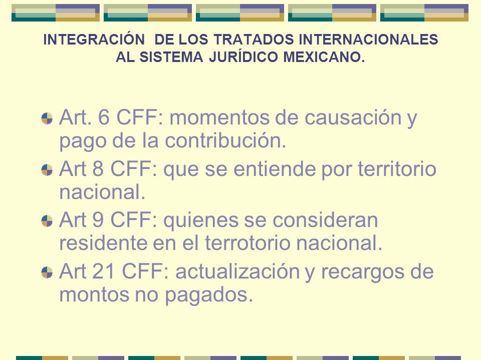 INTEGRACIÓN DE LOS TRATADOS INTERNACIONALES AL SISTEMA JURÍDICO MEXICANO. Art. 6 CFF: momentos de causación y pago de la contribución. Art 8 CFF: que