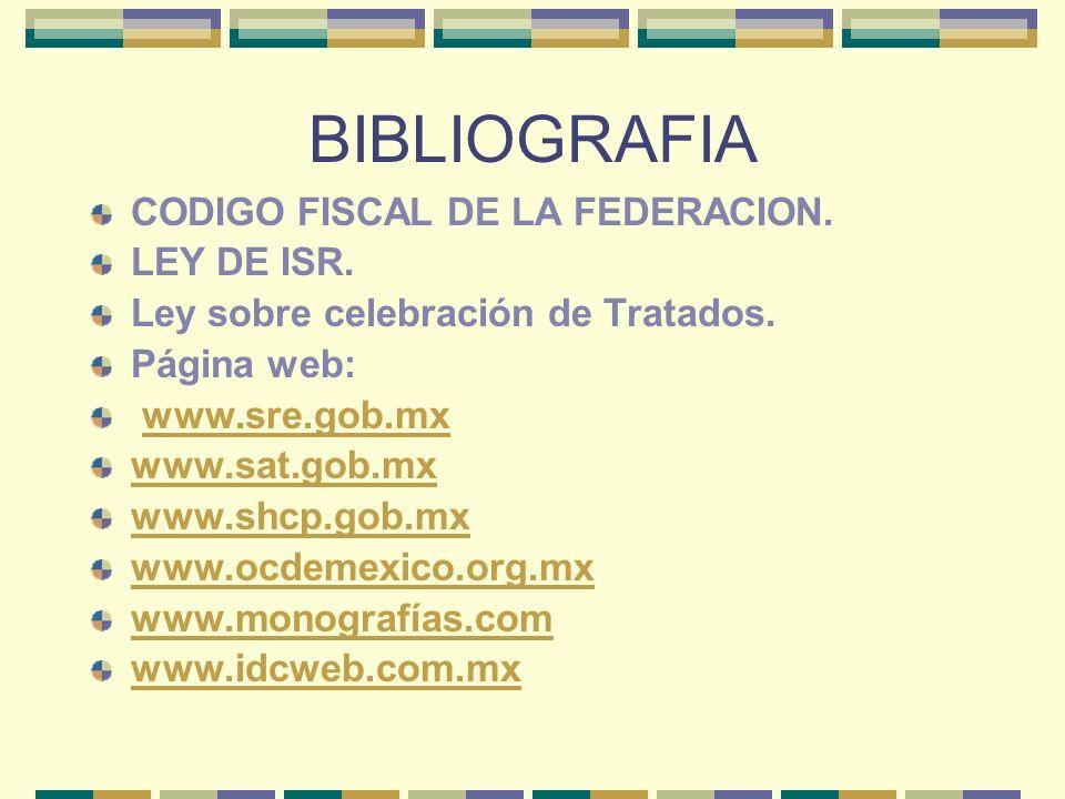 BIBLIOGRAFIA CODIGO FISCAL DE LA FEDERACION. LEY DE ISR. Ley sobre celebración de Tratados. Página web: www.sre.gob.mx www.sat.gob.mx www.shcp.gob.mx