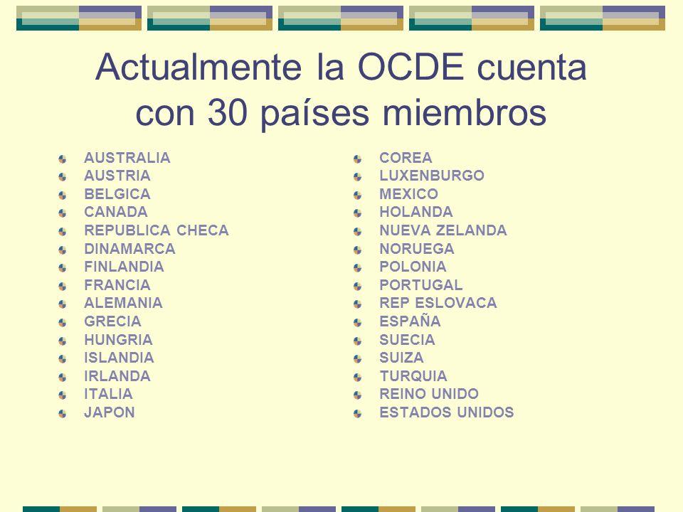 Actualmente la OCDE cuenta con 30 países miembros AUSTRALIA AUSTRIA BELGICA CANADA REPUBLICA CHECA DINAMARCA FINLANDIA FRANCIA ALEMANIA GRECIA HUNGRIA