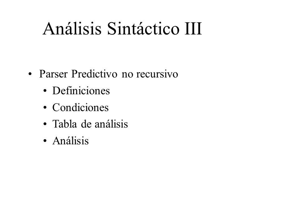 Análisis Sintáctico III Parser Predictivo no recursivo Definiciones Condiciones Tabla de análisis Análisis