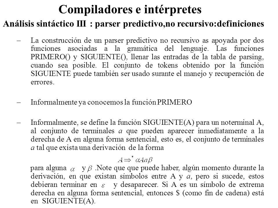 Análisis sintáctico III : parser predictivo,no recursivo:definiciones Compiladores e intérpretes –La construcción de un parser predictivo no recursivo