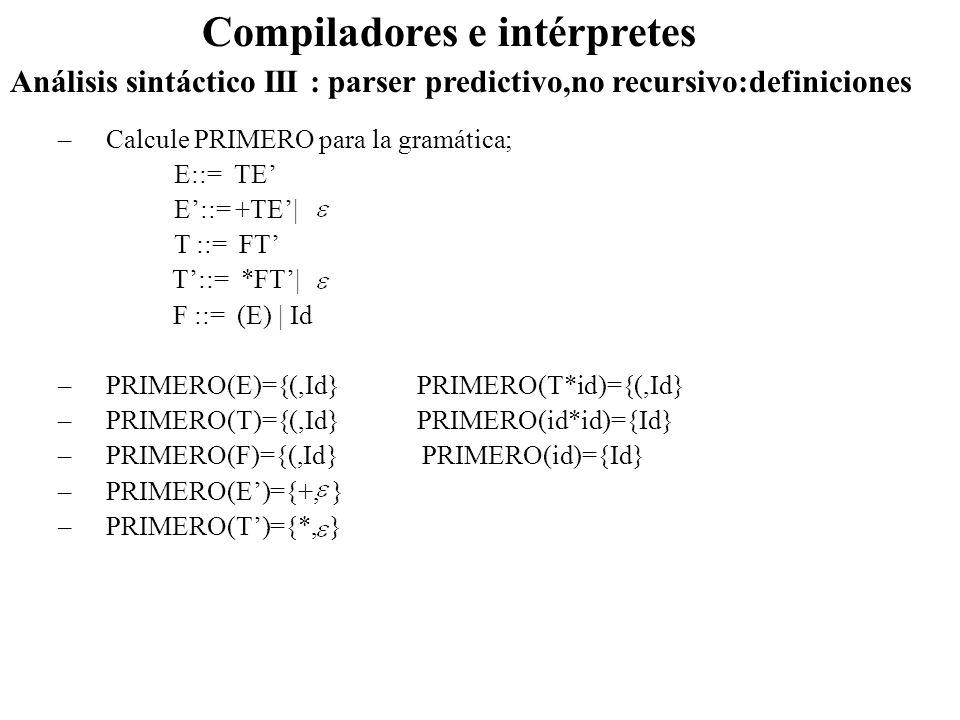 Análisis sintáctico III : parser predictivo,no recursivo:definiciones Compiladores e intérpretes –Calcule PRIMERO para la gramática; E::= TE E::= +TE|