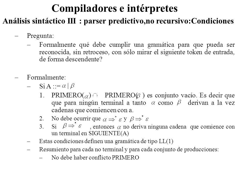 Análisis sintáctico III : parser predictivo,no recursivo:Condiciones Compiladores e intérpretes –Pregunta: –Formalmente qué debe cumplir una gramática