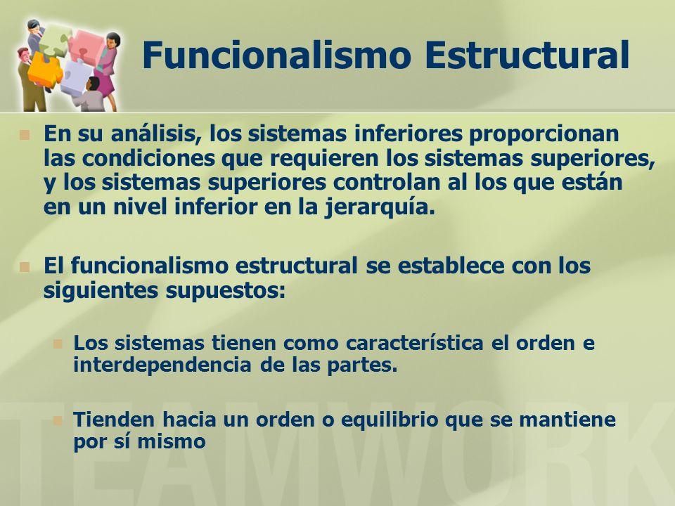 Funcionalismo Estructural En su análisis, los sistemas inferiores proporcionan las condiciones que requieren los sistemas superiores, y los sistemas superiores controlan al los que están en un nivel inferior en la jerarquía.