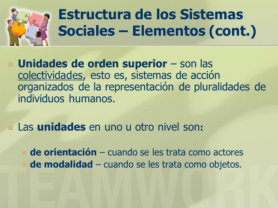 Estructura de los Sistemas Sociales – Elementos (cont.) Unidades de orden superior – son las colectividades, esto es, sistemas de acción organizados de la representación de pluralidades de individuos humanos.