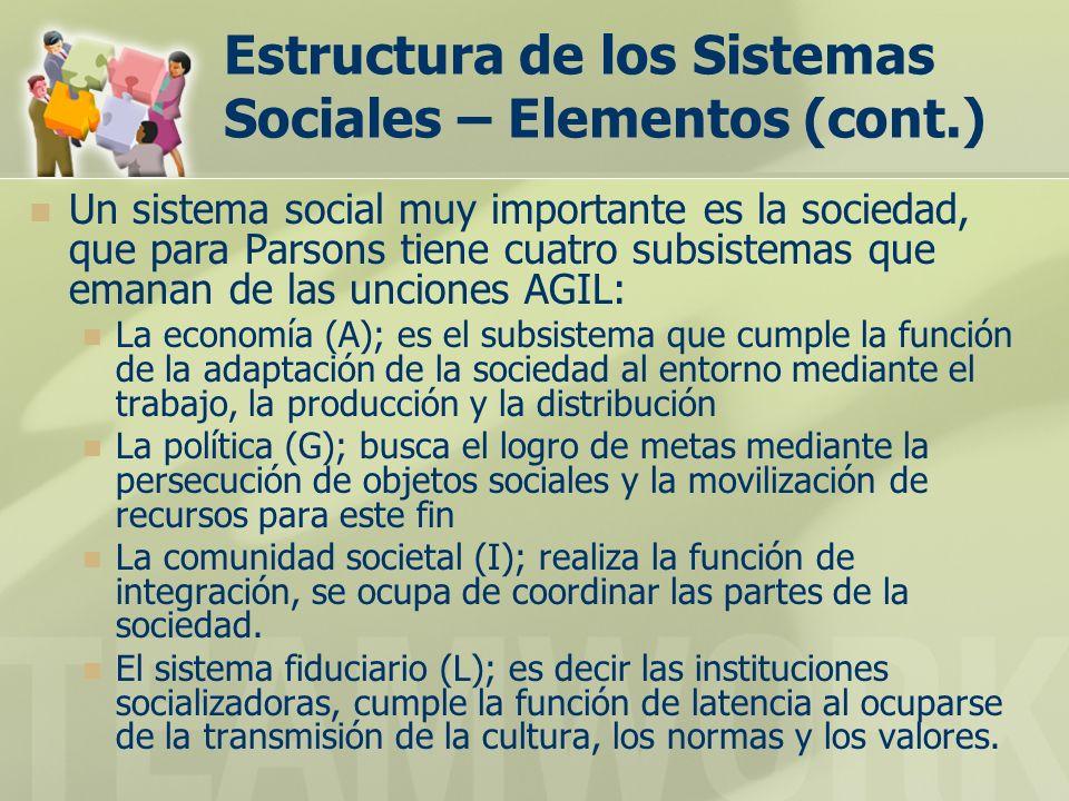 Estructura de los Sistemas Sociales – Elementos (cont.) Un sistema social muy importante es la sociedad, que para Parsons tiene cuatro subsistemas que emanan de las unciones AGIL: La economía (A); es el subsistema que cumple la función de la adaptación de la sociedad al entorno mediante el trabajo, la producción y la distribución La política (G); busca el logro de metas mediante la persecución de objetos sociales y la movilización de recursos para este fin La comunidad societal (I); realiza la función de integración, se ocupa de coordinar las partes de la sociedad.