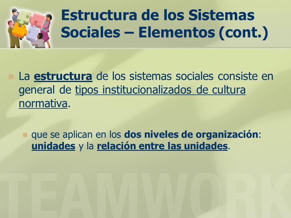 Estructura de los Sistemas Sociales – Elementos (cont.) La estructura de los sistemas sociales consiste en general de tipos institucionalizados de cultura normativa.