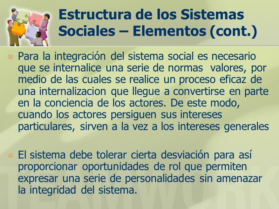 Estructura de los Sistemas Sociales – Elementos (cont.) Para la integración del sistema social es necesario que se internalice una serie de normas valores, por medio de las cuales se realice un proceso eficaz de una internalizacion que llegue a convertirse en parte en la conciencia de los actores.