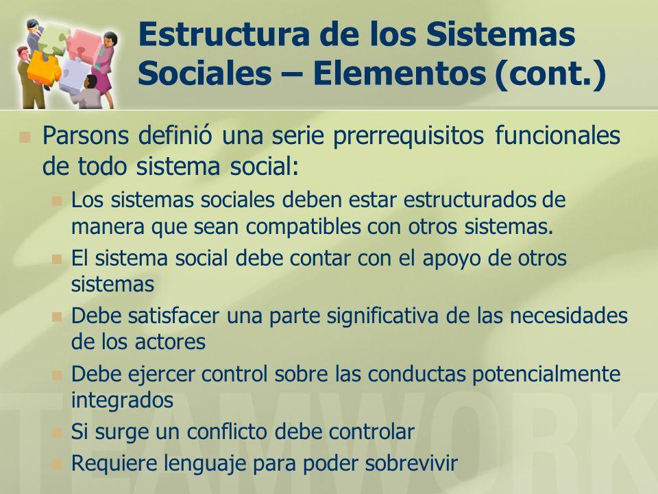 Estructura de los Sistemas Sociales – Elementos (cont.) Parsons definió una serie prerrequisitos funcionales de todo sistema social: Los sistemas sociales deben estar estructurados de manera que sean compatibles con otros sistemas.