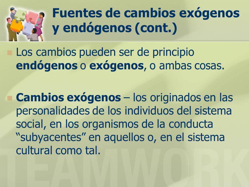 Fuentes de cambios exógenos y endógenos (cont.) Los cambios pueden ser de principio endógenos o exógenos, o ambas cosas. Cambios exógenos – los origin