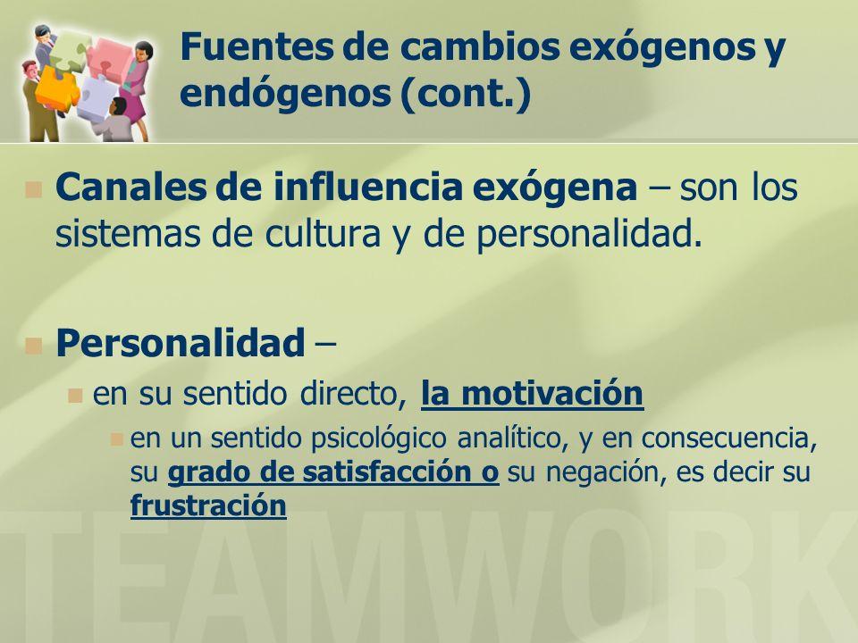 Fuentes de cambios exógenos y endógenos (cont.) Canales de influencia exógena – son los sistemas de cultura y de personalidad. Personalidad – en su se