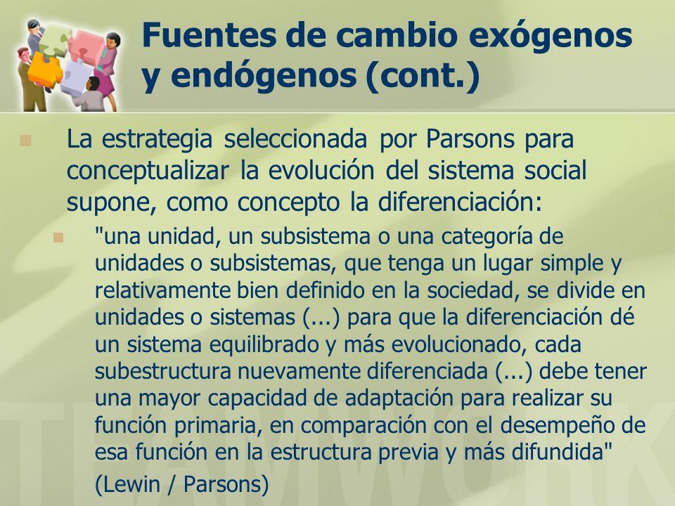 Fuentes de cambio exógenos y endógenos (cont.) La estrategia seleccionada por Parsons para conceptualizar la evolución del sistema social supone, como
