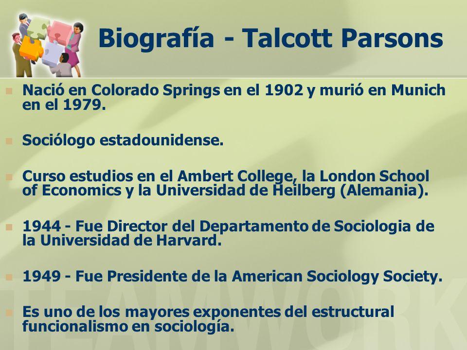 Biografía - Talcott Parsons Nació en Colorado Springs en el 1902 y murió en Munich en el 1979. Sociólogo estadounidense. Curso estudios en el Ambert C