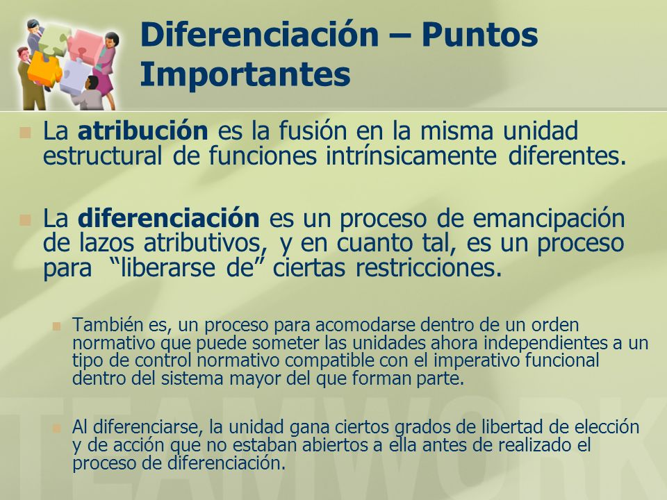 Diferenciación – Puntos Importantes La atribución es la fusión en la misma unidad estructural de funciones intrínsicamente diferentes. La diferenciaci