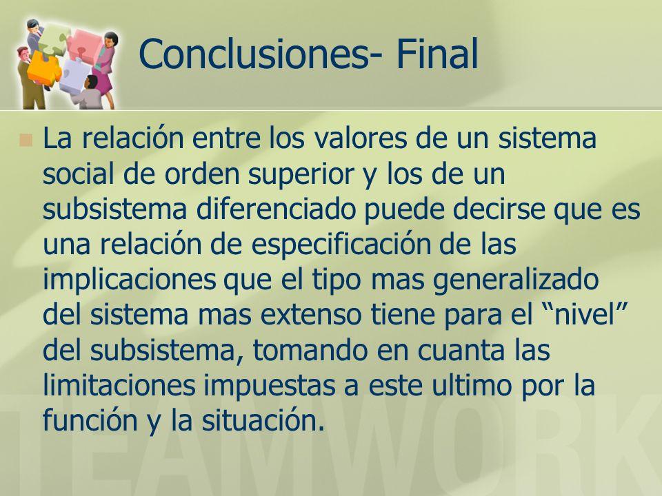 Conclusiones- Final La relación entre los valores de un sistema social de orden superior y los de un subsistema diferenciado puede decirse que es una