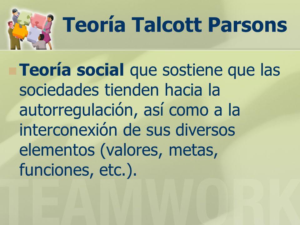 Teoría Talcott Parsons Teoría social que sostiene que las sociedades tienden hacia la autorregulación, así como a la interconexión de sus diversos elementos (valores, metas, funciones, etc.).