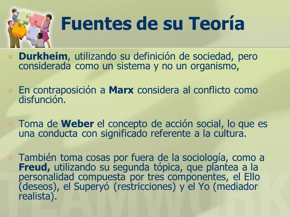 Fuentes de su Teoría Durkheim, utilizando su definición de sociedad, pero considerada como un sistema y no un organismo, En contraposición a Marx cons