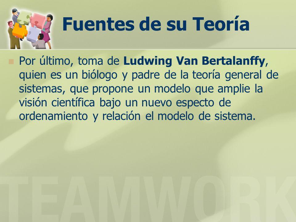 Fuentes de su Teoría Por último, toma de Ludwing Van Bertalanffy, quien es un biólogo y padre de la teoría general de sistemas, que propone un modelo