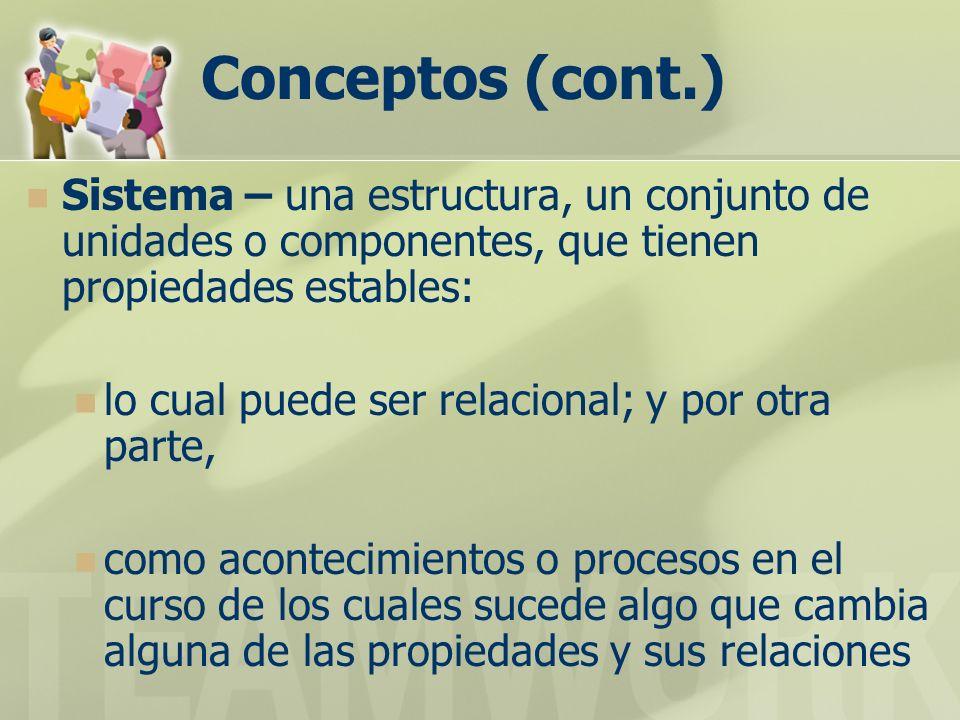Conceptos (cont.) Sistema – una estructura, un conjunto de unidades o componentes, que tienen propiedades estables: lo cual puede ser relacional; y por otra parte, como acontecimientos o procesos en el curso de los cuales sucede algo que cambia alguna de las propiedades y sus relaciones