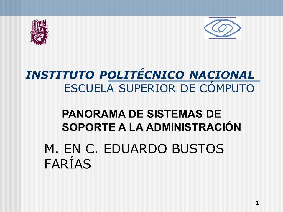 1 INSTITUTO POLITÉCNICO NACIONAL ESCUELA SUPERIOR DE CÓMPUTO M. EN C. EDUARDO BUSTOS FARÍAS PANORAMA DE SISTEMAS DE SOPORTE A LA ADMINISTRACIÓN