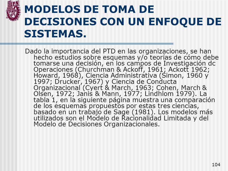 104 MODELOS DE TOMA DE DECISIONES CON UN ENFOQUE DE SISTEMAS. Dado la importancia del PTD en las organizaciones, se han hecho estudios sobre esquemas
