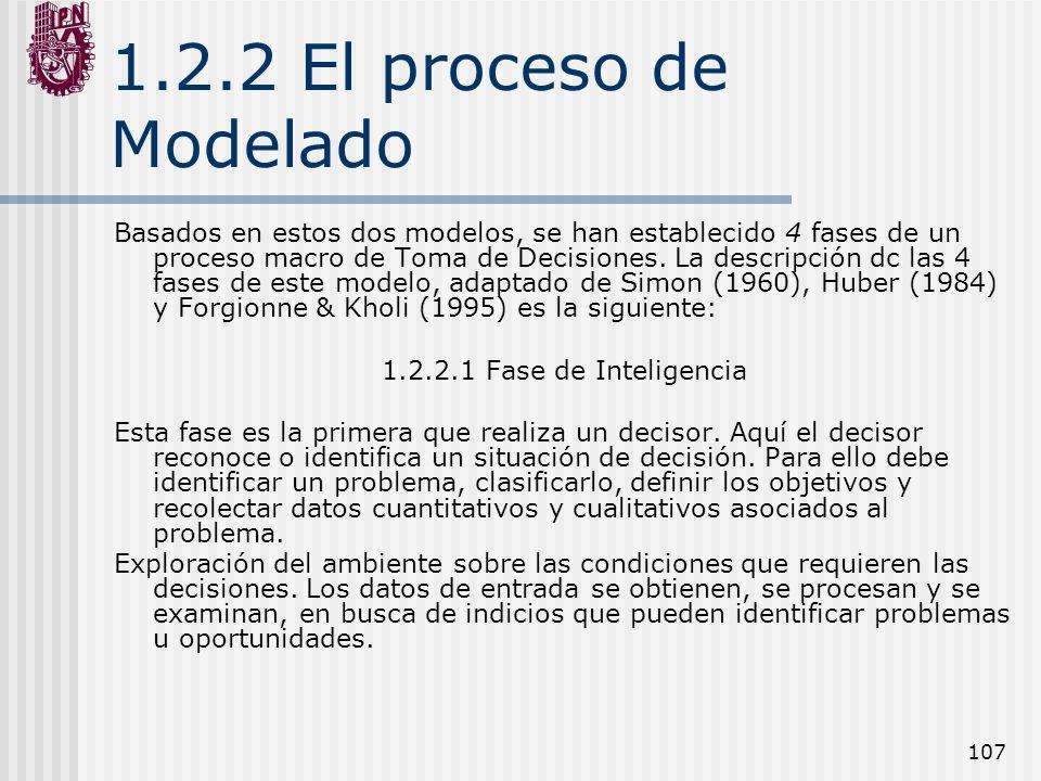 107 1.2.2 El proceso de Modelado Basados en estos dos modelos, se han establecido 4 fases de un proceso macro de Toma de Decisiones. La descripción dc