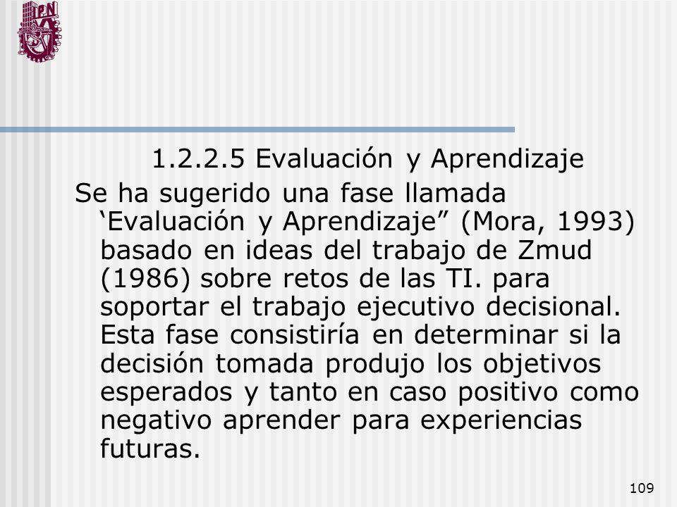 109 1.2.2.5 Evaluación y Aprendizaje Se ha sugerido una fase llamada Evaluación y Aprendizaje (Mora, 1993) basado en ideas del trabajo de Zmud (1986)