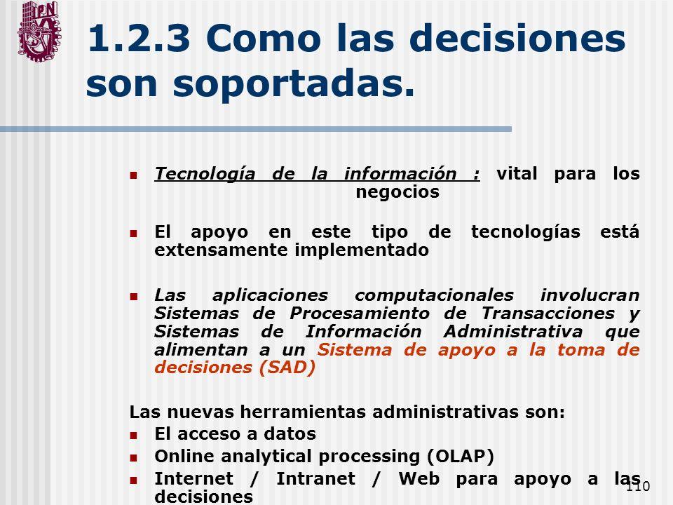 110 1.2.3 Como las decisiones son soportadas. Tecnología de la información : vital para los negocios El apoyo en este tipo de tecnologías está extensa