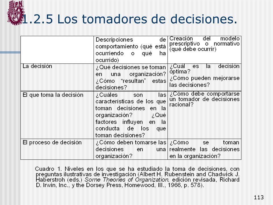 113 1.2.5 Los tomadores de decisiones.