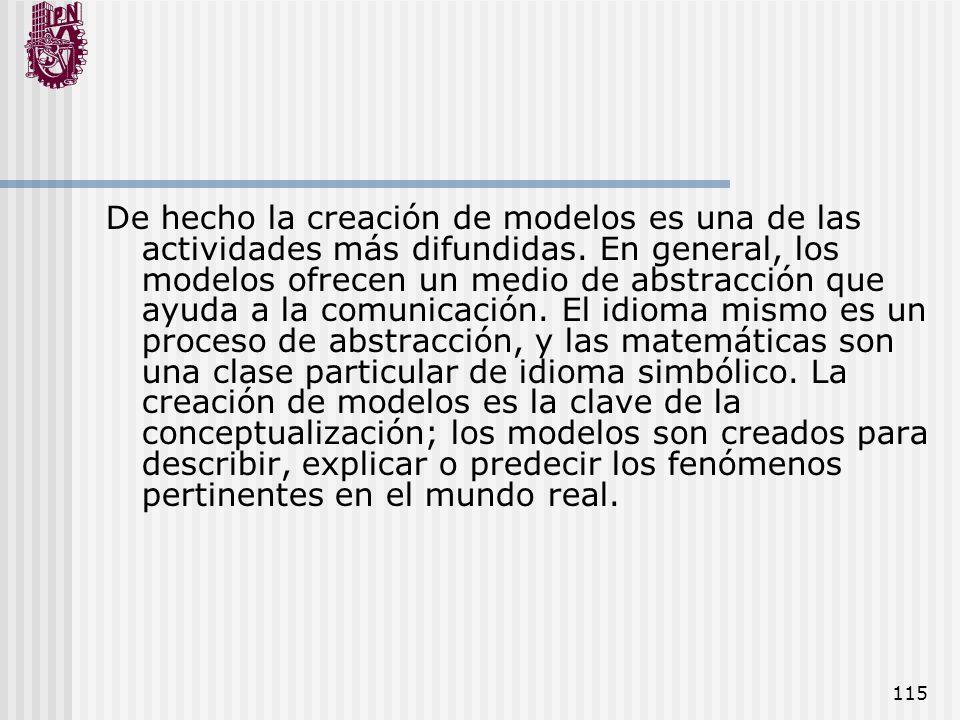 115 De hecho la creación de modelos es una de las actividades más difundidas. En general, los modelos ofrecen un medio de abstracción que ayuda a la c