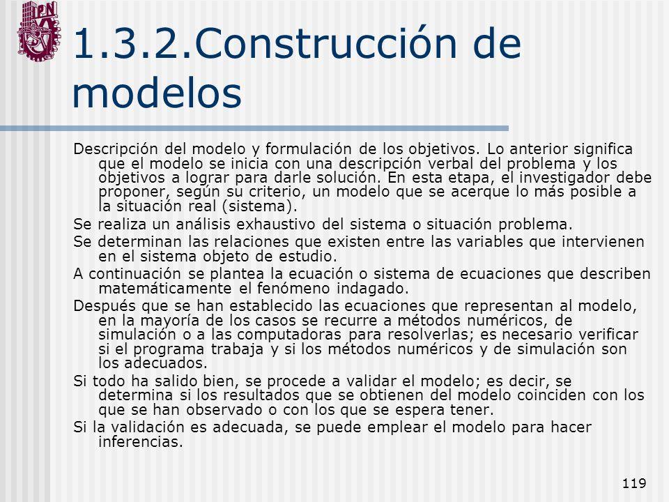 119 1.3.2.Construcción de modelos Descripción del modelo y formulación de los objetivos. Lo anterior significa que el modelo se inicia con una descrip