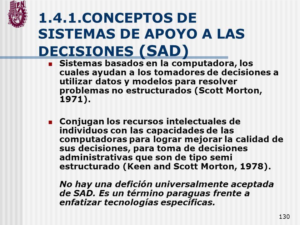 130 1.4.1.CONCEPTOS DE SISTEMAS DE APOYO A LAS DECISIONES (SAD) Sistemas basados en la computadora, los cuales ayudan a los tomadores de decisiones a